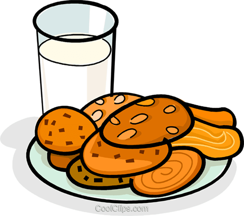 glass of milk and a plate of cookies Royalty Free Vector Clip Art illustration vc061867