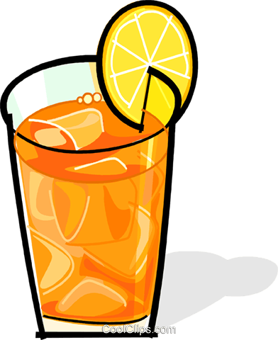 iced tea with a lemon slice Royalty Free Vector Clip Art illustration vc061873