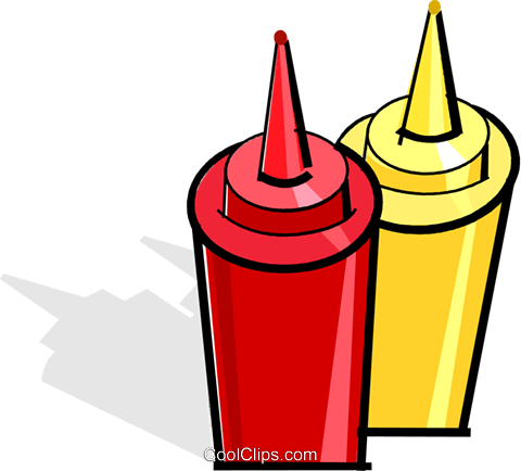 mustard and ketchup bottles Royalty Free Vector Clip Art illustration vc061878
