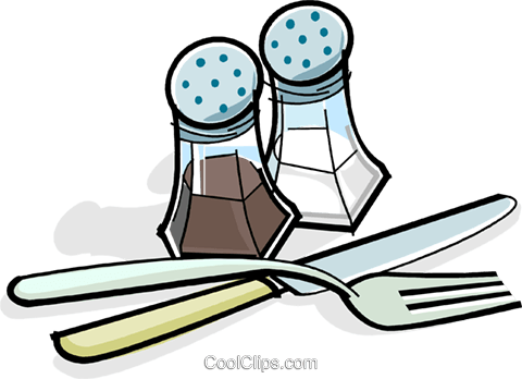 salt & Pepper with utensils Royalty Free Vector Clip Art illustration vc061880