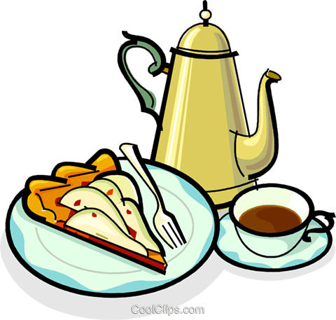 Cup of coffee, coffee maker and dessert Royalty Free Vector Clip Art illustration vc061886