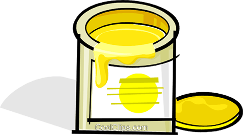 can of yellow paint Royalty Free Vector Clip Art illustration vc061908