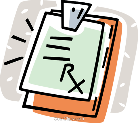 clipboard with a doctor's prescription Royalty Free Vector Clip Art illustration vc061987