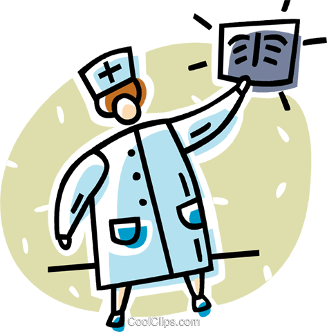 doctor looking at an x-ray Royalty Free Vector Clip Art illustration vc062038