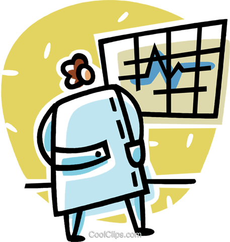 doctor looking at a chart Royalty Free Vector Clip Art illustration vc062048