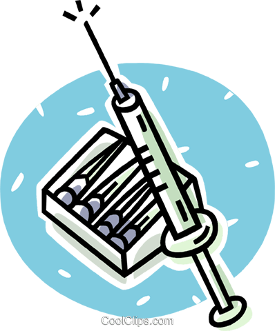 hypodermic syringe Royalty Free Vector Clip Art illustration vc062058