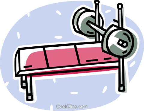 barbells on a bench Royalty Free Vector Clip Art illustration vc062062