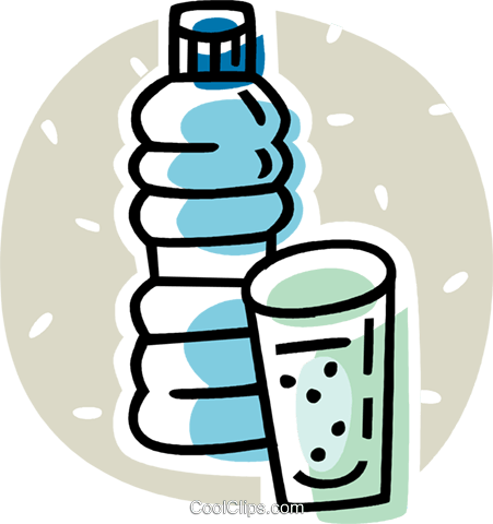 bottle of water and a cup Royalty Free Vector Clip Art illustration vc062068