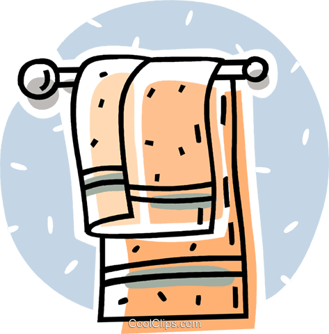 bathroom towel hanging on a rack Royalty Free Vector Clip Art illustration vc062079