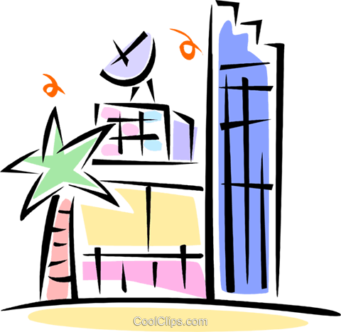 building with a satellite dish on it Royalty Free Vector Clip Art illustration vc062086