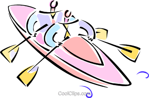 two men in a kayak Royalty Free Vector Clip Art illustration vc062098