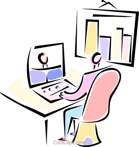 man sitting at his desk Royalty Free Vector Clip Art illustration vc062100