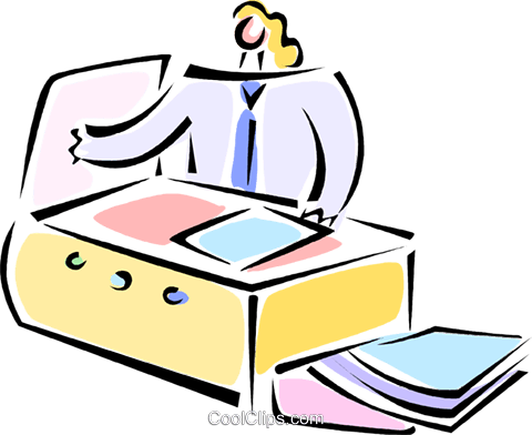 businesswoman working at the photocopier Royalty Free Vector Clip Art illustration vc062117