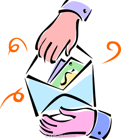 hands opening an envelope Royalty Free Vector Clip Art illustration vc062127