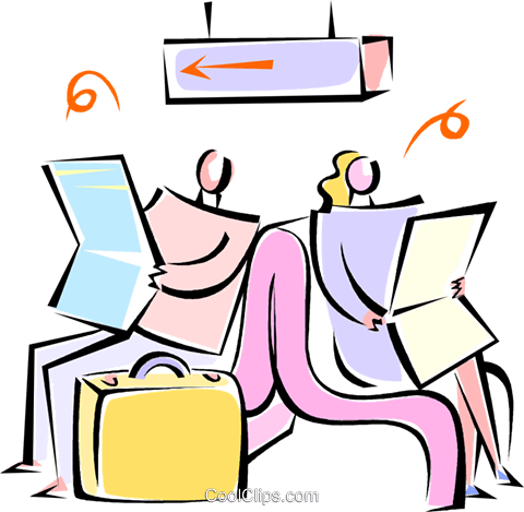 two people waiting at terminal reading Royalty Free Vector Clip Art illustration vc062154
