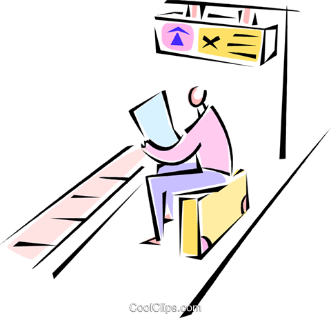 man sitting on his suitcase reading Royalty Free Vector Clip Art illustration vc062155