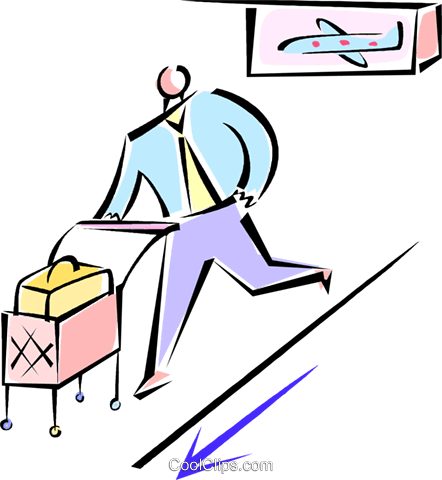 man rushing through the airport terminal Royalty Free Vector Clip Art illustration vc062158