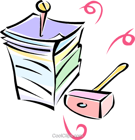 paperwork, sledgehammer and a nail Royalty Free Vector Clip Art illustration vc062169