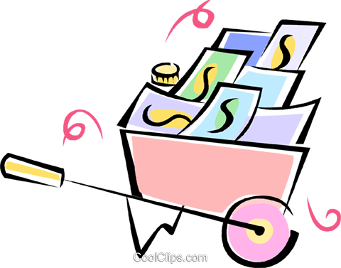 wheelbarrow full of money Royalty Free Vector Clip Art illustration vc062172