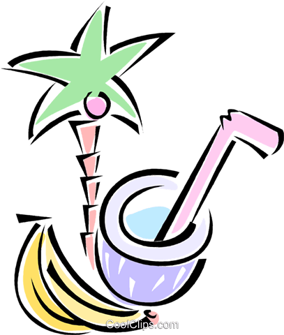 palm tree, bananas, and a coconut drink Royalty Free Vector Clip Art illustration vc062186