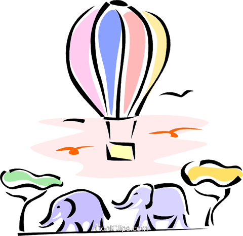 elephants walking with a hot air balloon Royalty Free Vector Clip Art illustration vc062189