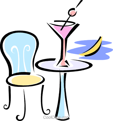 alcoholic drink sitting on a table Royalty Free Vector Clip Art illustration vc062197