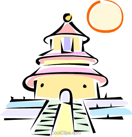 Asian Temple Royalty Free Vector Clip Art illustration vc062213