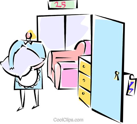 maid at a hotel making up a room Royalty Free Vector Clip Art illustration vc062218