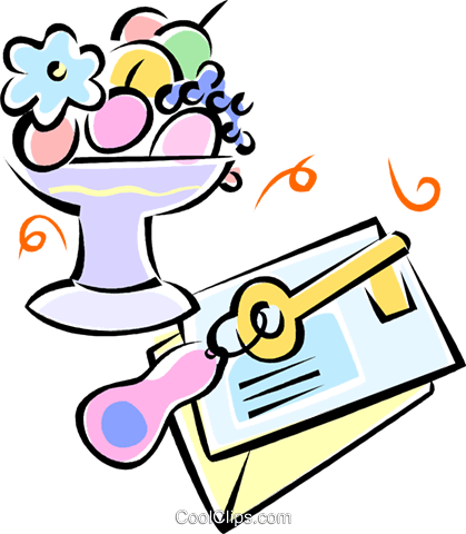 key, envelopes and a fruit bowl Royalty Free Vector Clip Art illustration vc062235