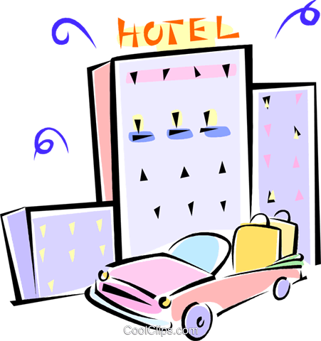 car with luggage outside of a hotel Royalty Free Vector Clip Art illustration vc062237