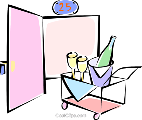 champagne room service Royalty Free Vector Clip Art illustration vc062257
