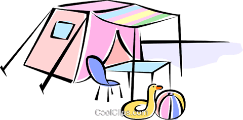 tent with beach gear Royalty Free Vector Clip Art illustration vc062258