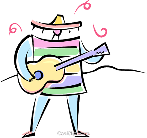 Mexican guitar player Royalty Free Vector Clip Art illustration vc062275