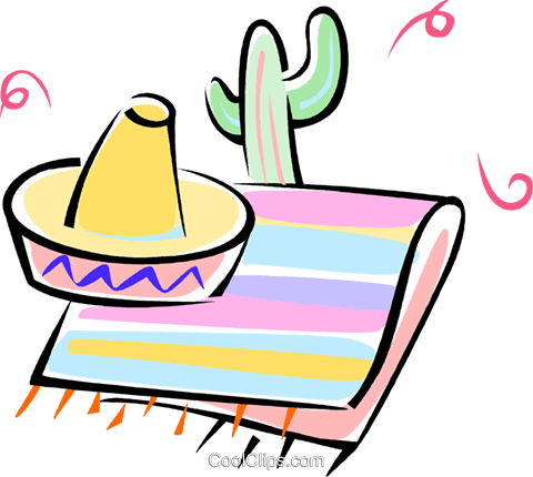 cactus, Mexican sombrero, blanket Royalty Free Vector Clip Art illustration vc062277