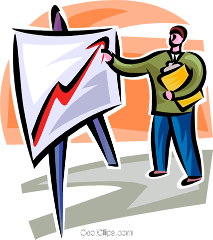 businessman pointing at a sales chart Royalty Free Vector Clip Art illustration vc062288