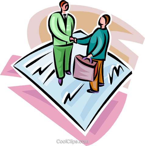 two businessmen agreeing to a contract Royalty Free Vector Clip Art illustration vc062291