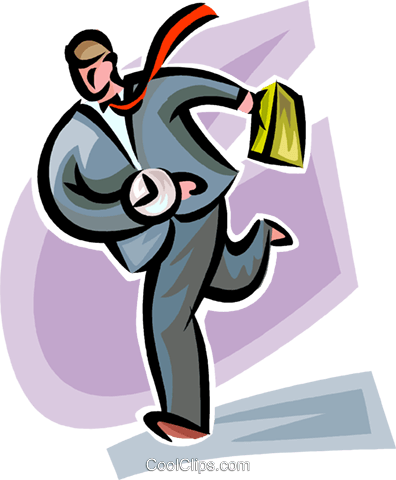 businessman running late Royalty Free Vector Clip Art illustration vc062294