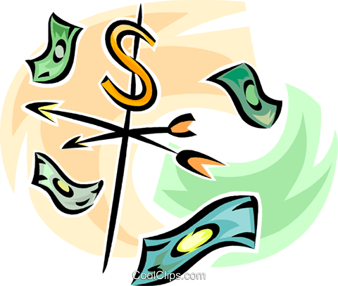 weather vane with dollar bills Royalty Free Vector Clip Art illustration vc062295
