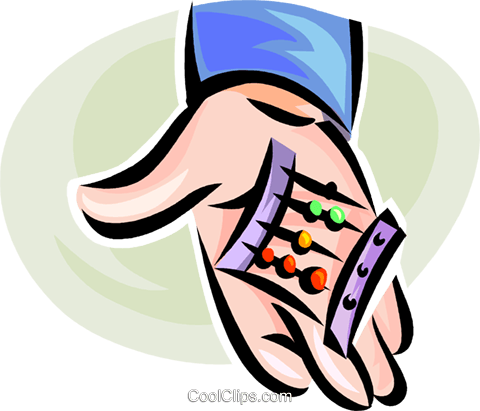 hand holding an abacus Royalty Free Vector Clip Art illustration vc062296