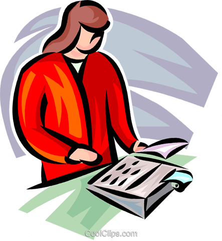 businesswoman working with a calculator Royalty Free Vector Clip Art illustration vc062299