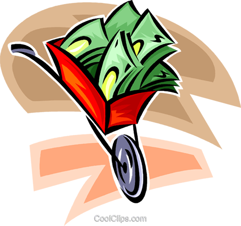 wheelbarrow full of money Royalty Free Vector Clip Art illustration vc062315