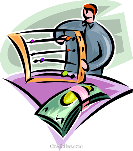 man with an abacus and dollar bills Royalty Free Vector Clip Art illustration vc062318