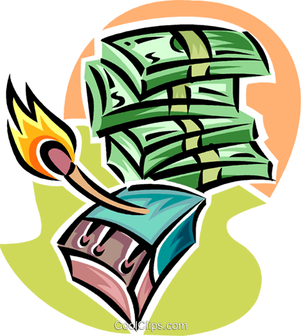 money to burn Royalty Free Vector Clip Art illustration vc062335