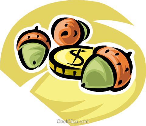 golden coin with acorns Royalty Free Vector Clip Art illustration vc062347