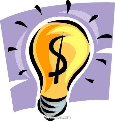 light bulb with money symbol Royalty Free Vector Clip Art illustration vc062349