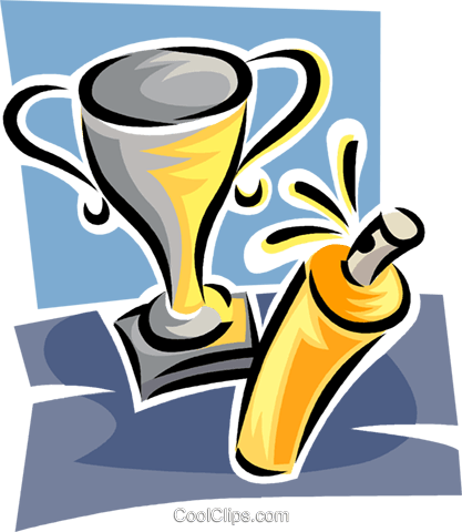 trophy and spray cleaner Royalty Free Vector Clip Art illustration vc062352