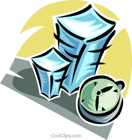 stack of paperwork and a clock Royalty Free Vector Clip Art illustration vc062354