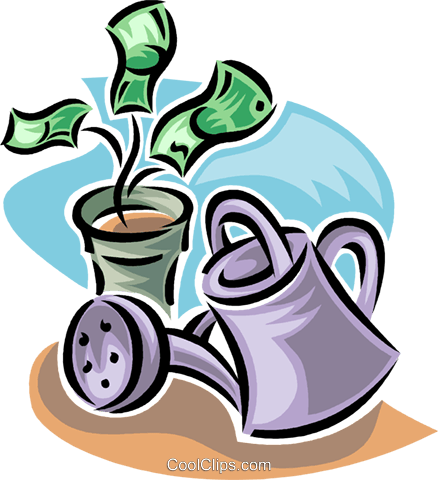 financial growth, with watering can Royalty Free Vector Clip Art illustration vc062358
