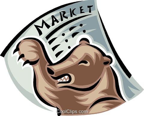 bear market place Royalty Free Vector Clip Art illustration vc062365