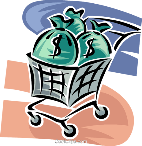 bags of money in a shopping cart Royalty Free Vector Clip Art illustration vc062366